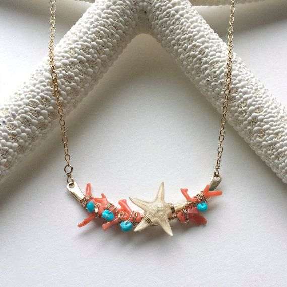Starfish Coral Necklace, Sleeping Beauty Turquoise Necklace, Real Starfish Jewelry, Coral Turquoise Necklace