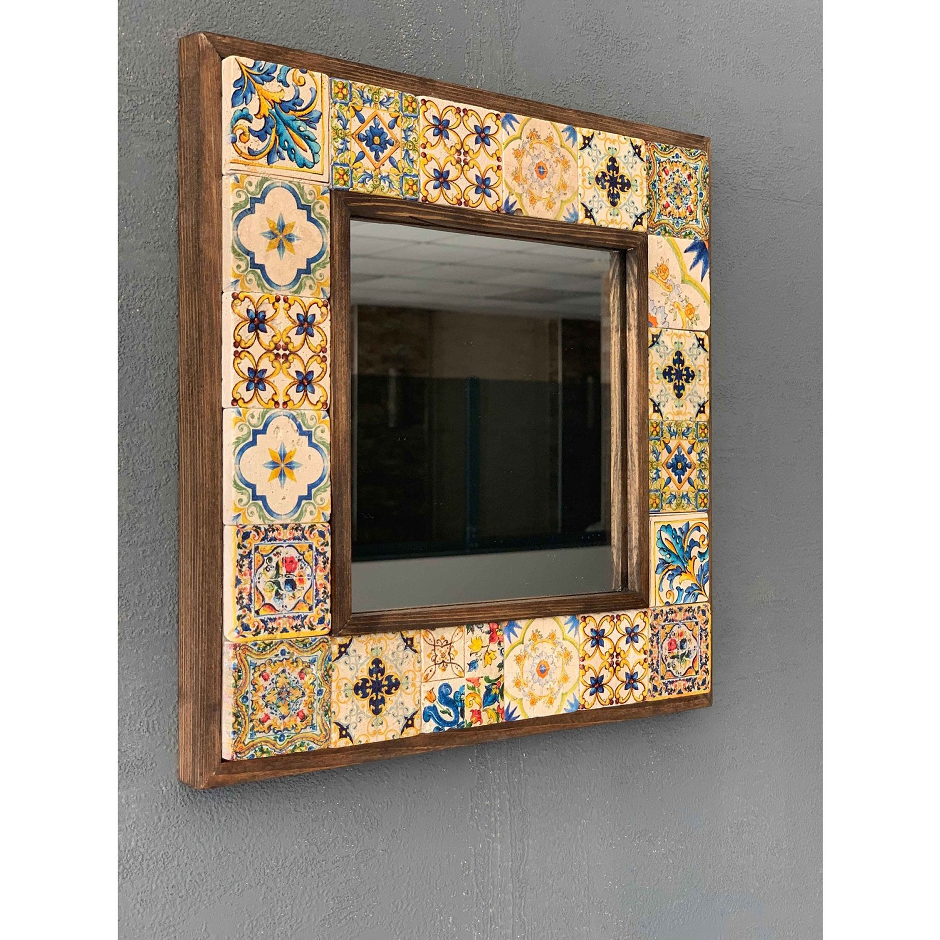Boho mosaic mirror, travertine mosaic mirror, wall hanging mirror, handcrafted mirror, bohemian home decor,vegetable painted marble frame