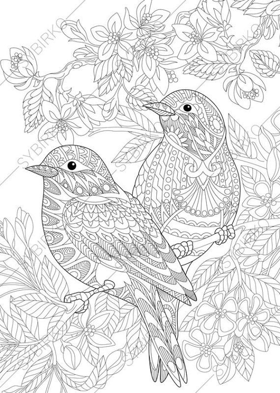 Coloring Pages for adults. Love Birds. Spring Flowers. Blossoming ...