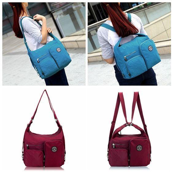 Women Nylon Waterproof Multifunctional Handbags Crossbody Bag Backpack Large  Capacity Shoulder Bags 3f0c1faaf2143