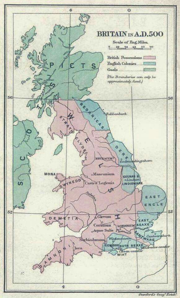 Map Of Uk 500 Ad.Britain In A D 500 Maps History Of Wales Map Of Britain