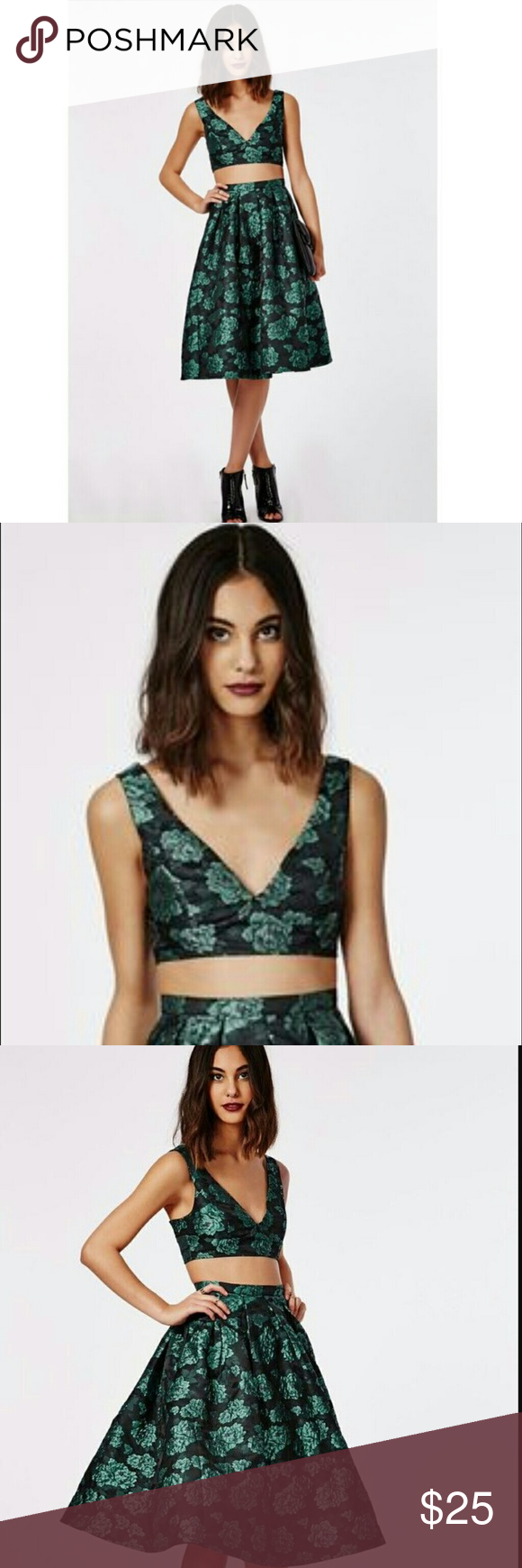 NWT MISGUIDED METALLIC BRALETTE (6) New with tags Misguided metallic green brocade floral    with delicate sparkly purple  centers. Zip back closure.    Size Small 6 Material:  20% Cotton 80% Polyester Hand Wash  FAST SHIPPING!! Misguided Tops