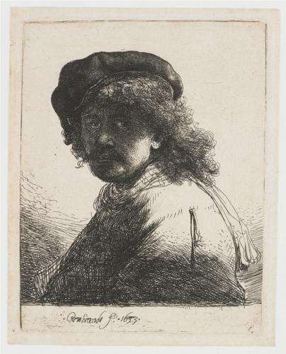 Self Portrait In A Cap And Scarf With The Face Dark Bust Rembrandt Rembrandt Kunst Ideer Og Kunstnere