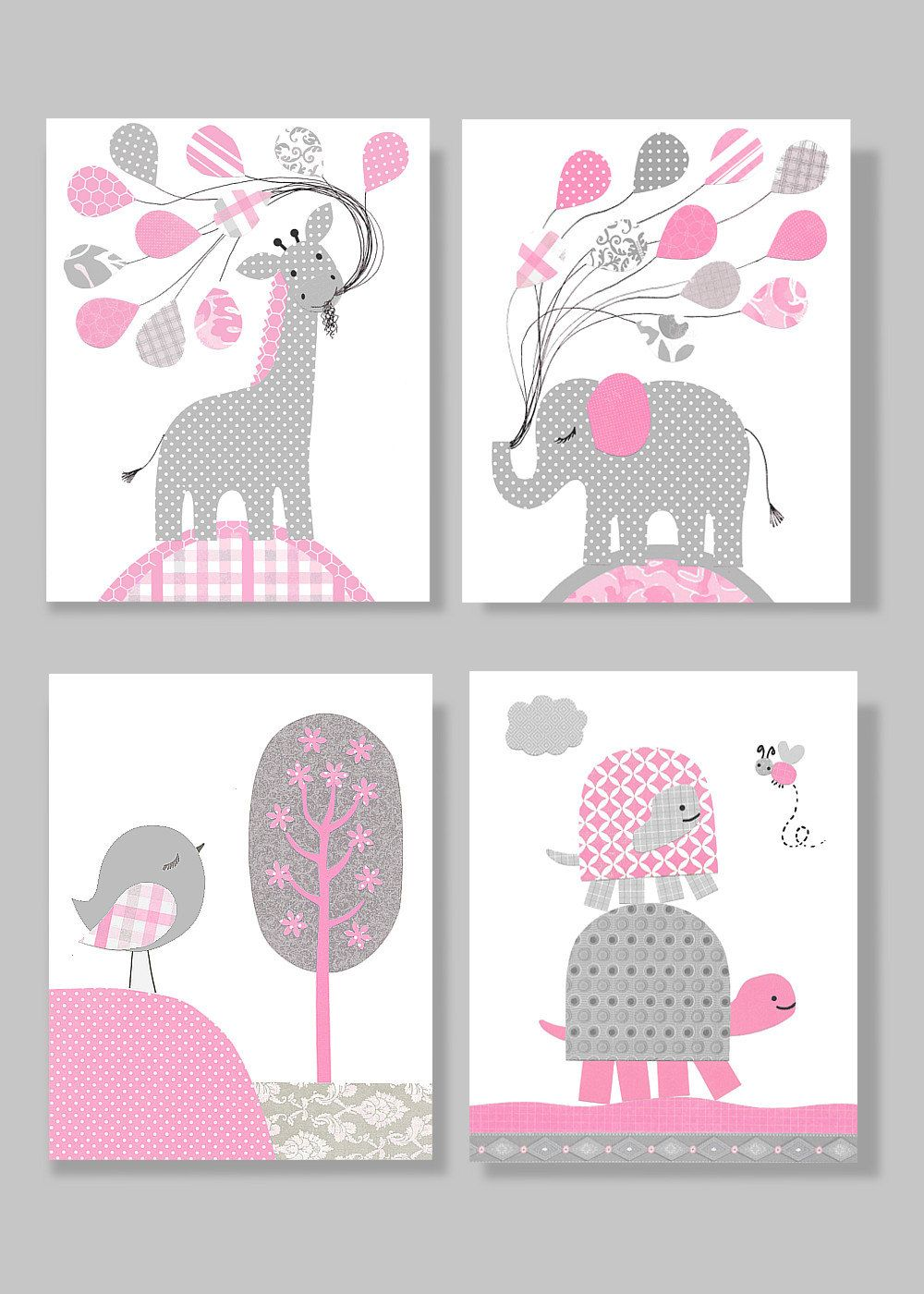 Elephant nursery wall art print mom baby dad by rizzleandrugee - Pink And Grey Nursery Baby Girl Nursery Girl Nursery Art Elephant Nursery Baby Art Prints Giraffe Nursery Bird Wall Decor Set Of 4