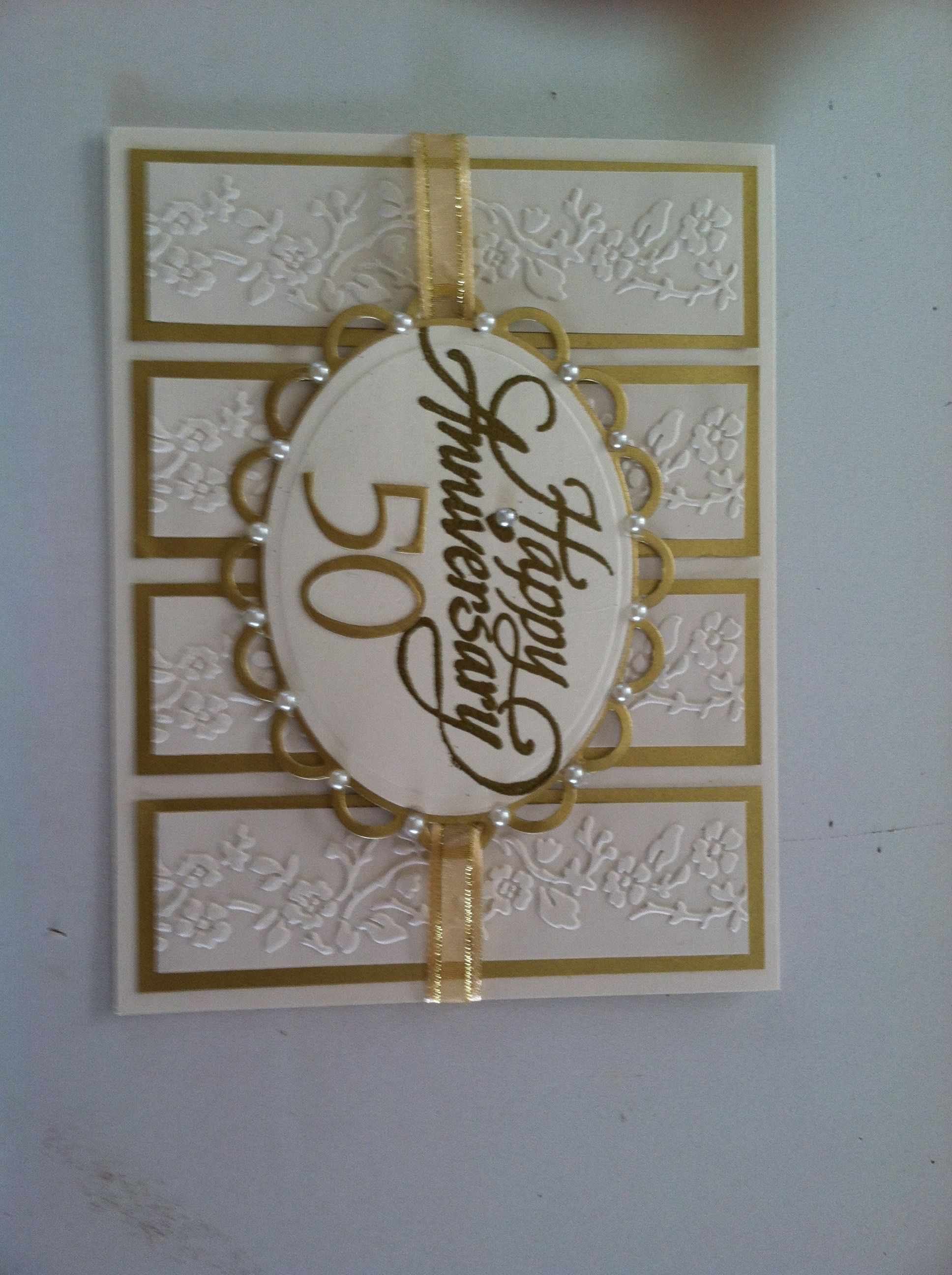 E Wedding Invitation Cards. A 50th anniversary card with a bit of shimmer