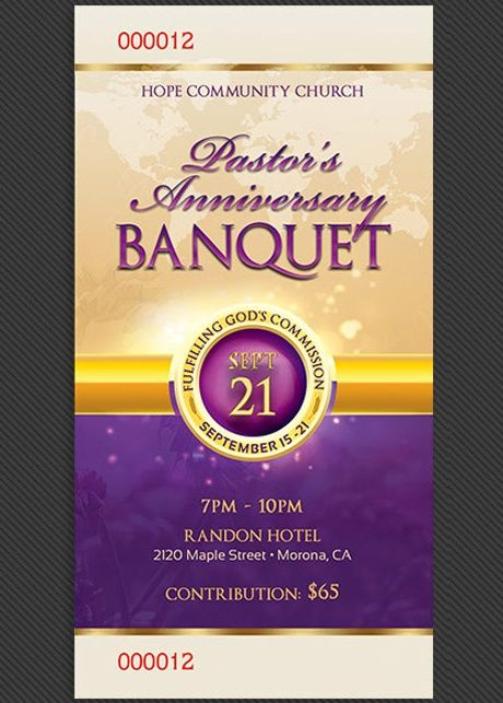clergy anniversary banquet ticket template church print templates