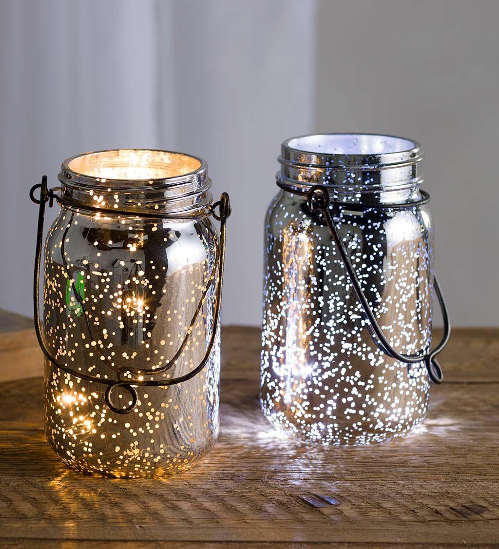 Lighted Mercury Glass Mason Jars Set Of 2 Indoor Holiday Decorations Mason Jar Wedding Glass Mason Jars Diy Wedding Lighting