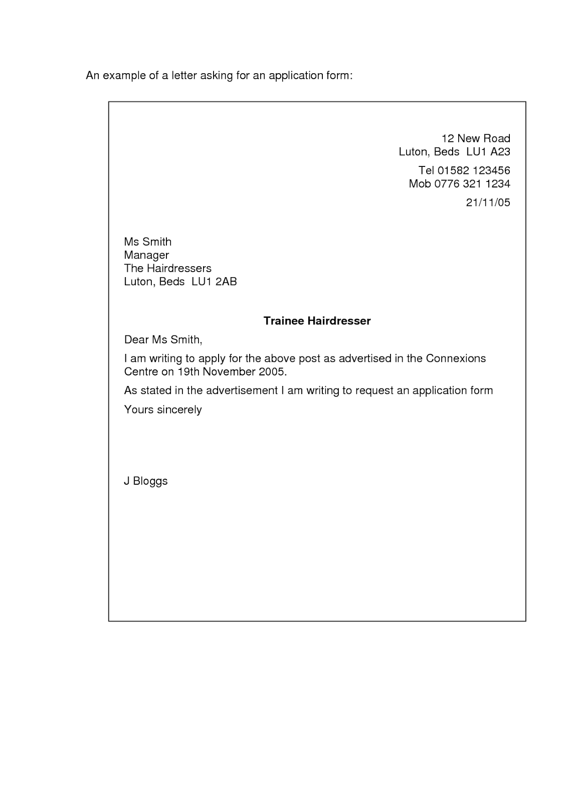Job Application Cover Letter Examples  Letter    Cover