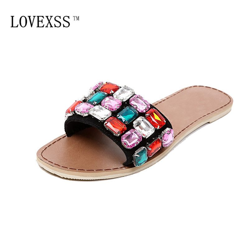 ae3f890527c04d LOVEXSS Crystal Beach Slippers Casual Woman Platform Shoes Black Slides  Summer Big Feet Slippers 33 - 41 Genuine Leather Summer
