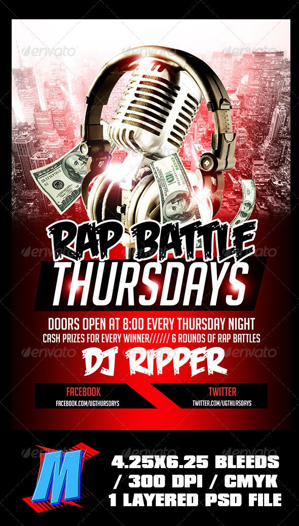 Rap Battle Thursdays Flyer Template | Rap battle, Rap and Flyers