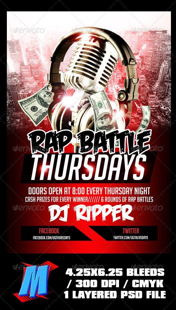 rap battle thursdays flyer template flyer template template and