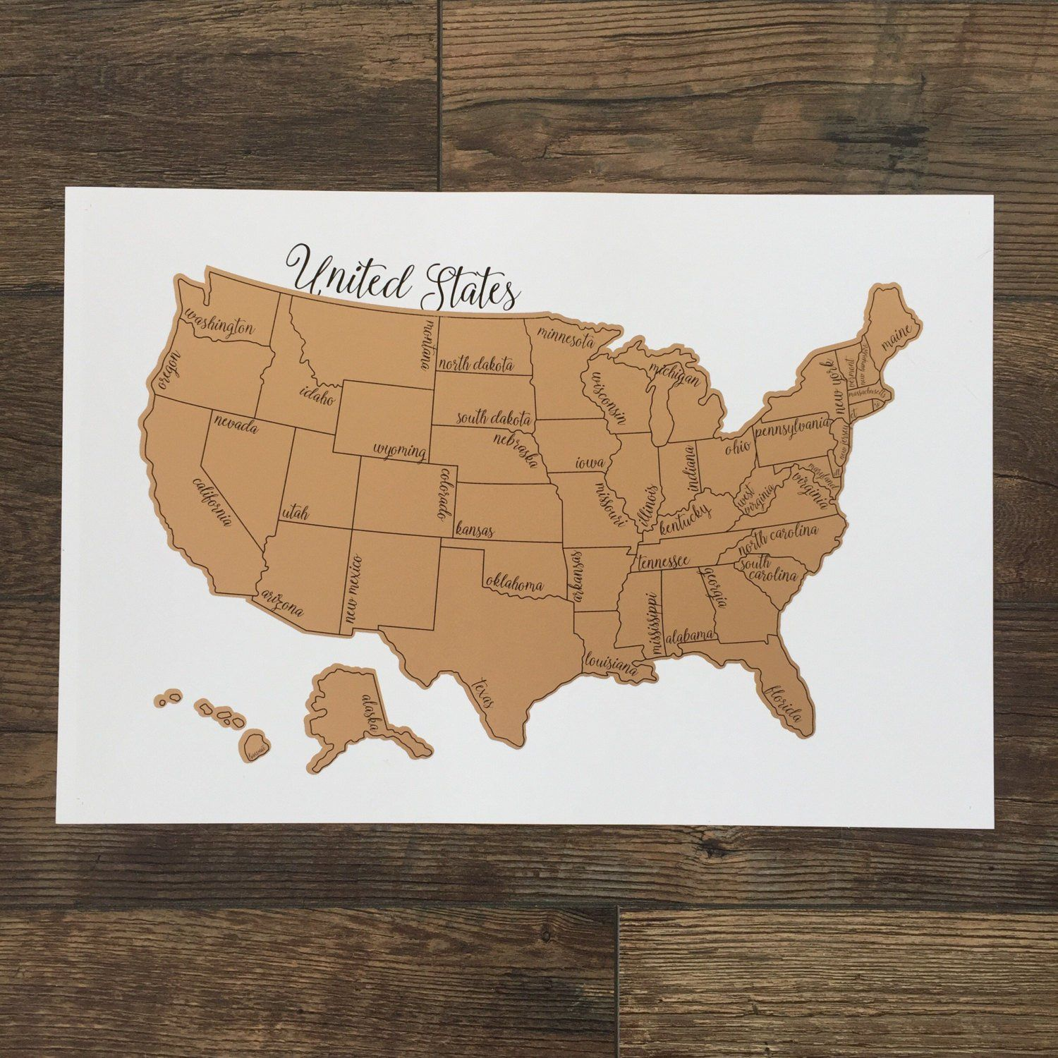 Scratch Off Map Travel Map United States Map Travel Gift Etsy