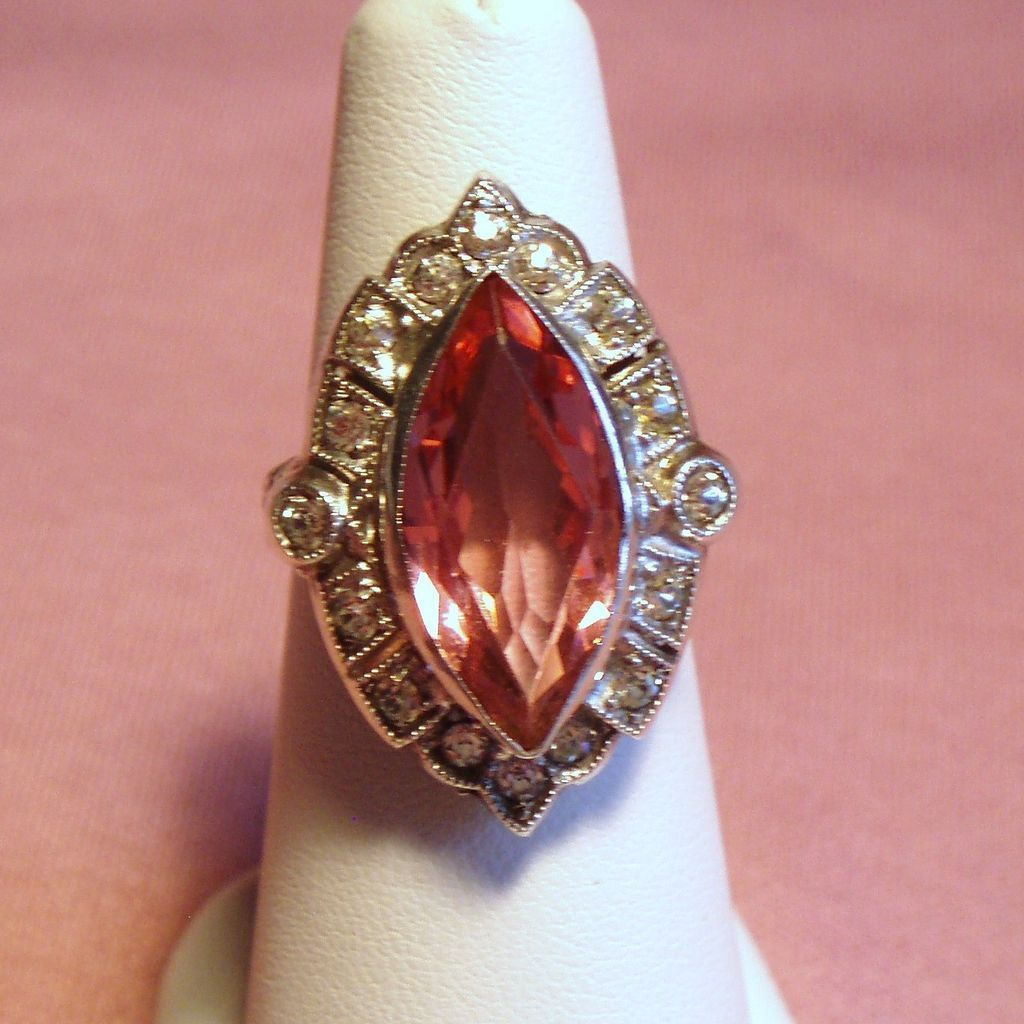 Vintage Art Deco Pink Glass Marquise Sterling Ring from Unforgettable Exclusively on Ruby Lane