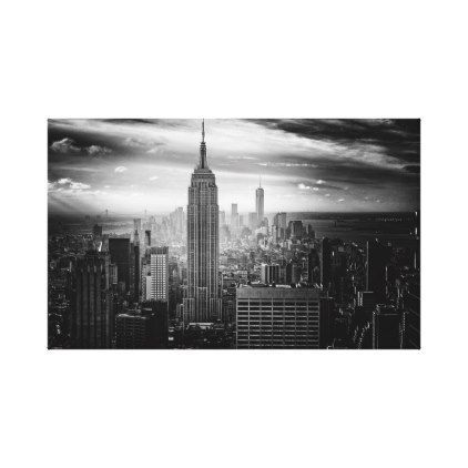 New York City Skyline Black And White Canvas Print Travel Art City Skyline Art City Postcard Skyline Art