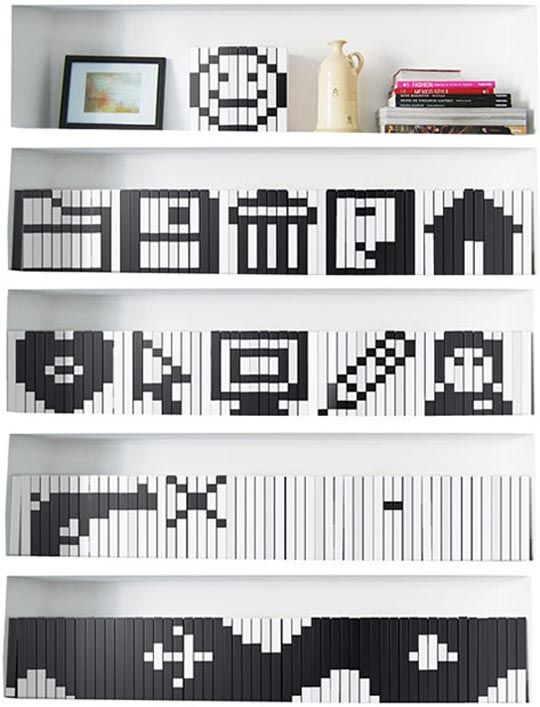 Pixel Icon Book Covers As Bookshelf Display Crazy