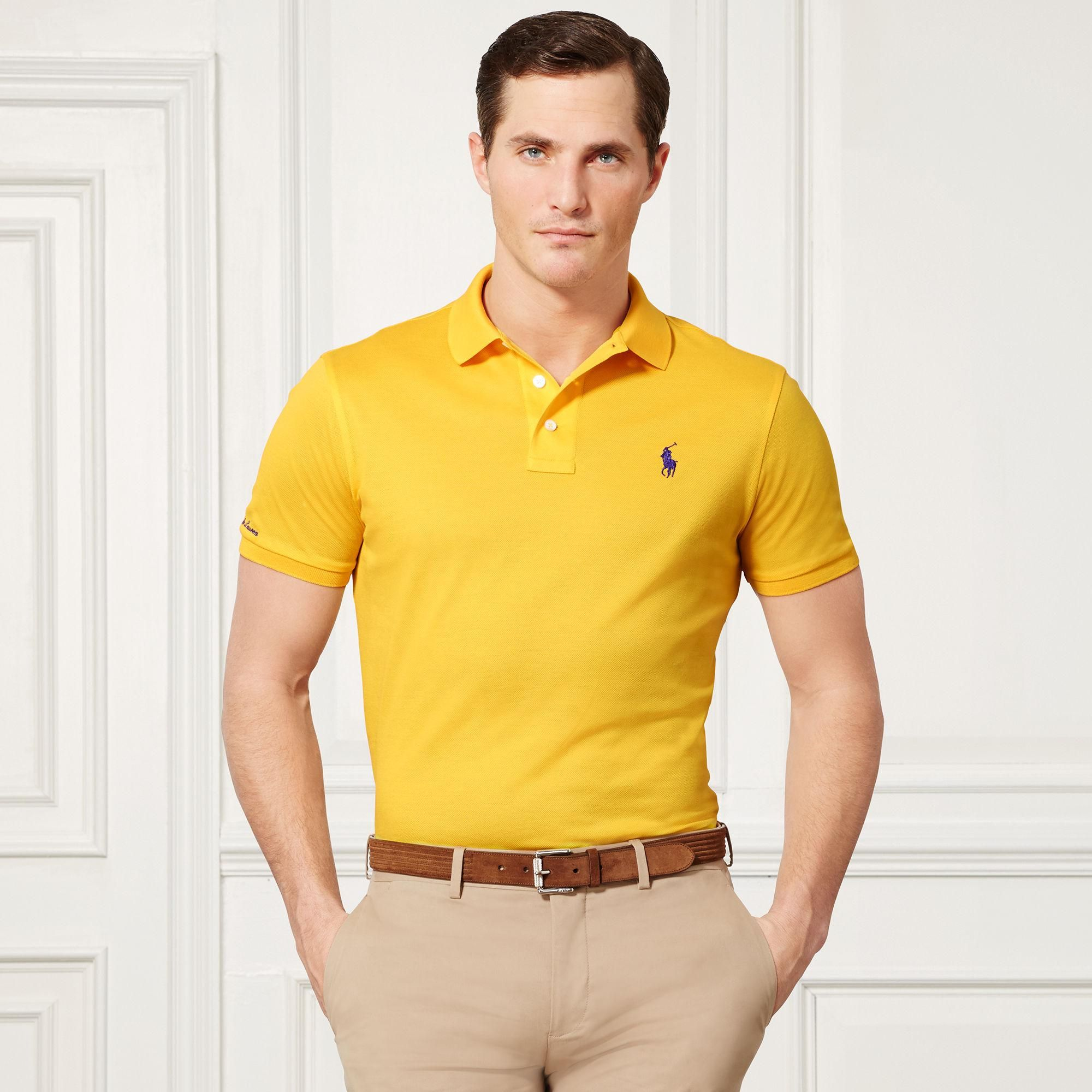 Men 39 s yellow custom fit piqu polo shirt polo shirts and for Man in polo shirt