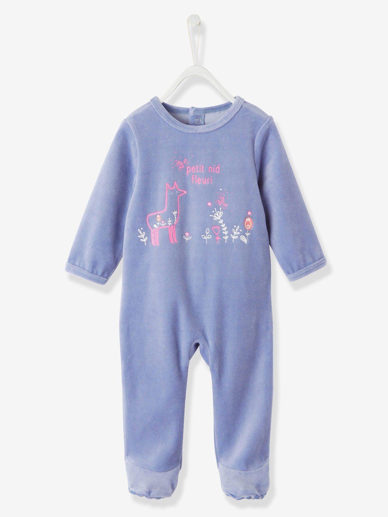 624788a1a4d98 Pyjama bébé velours bleu clair grisé imprimé - Bien dans son petit nid, bien  dans