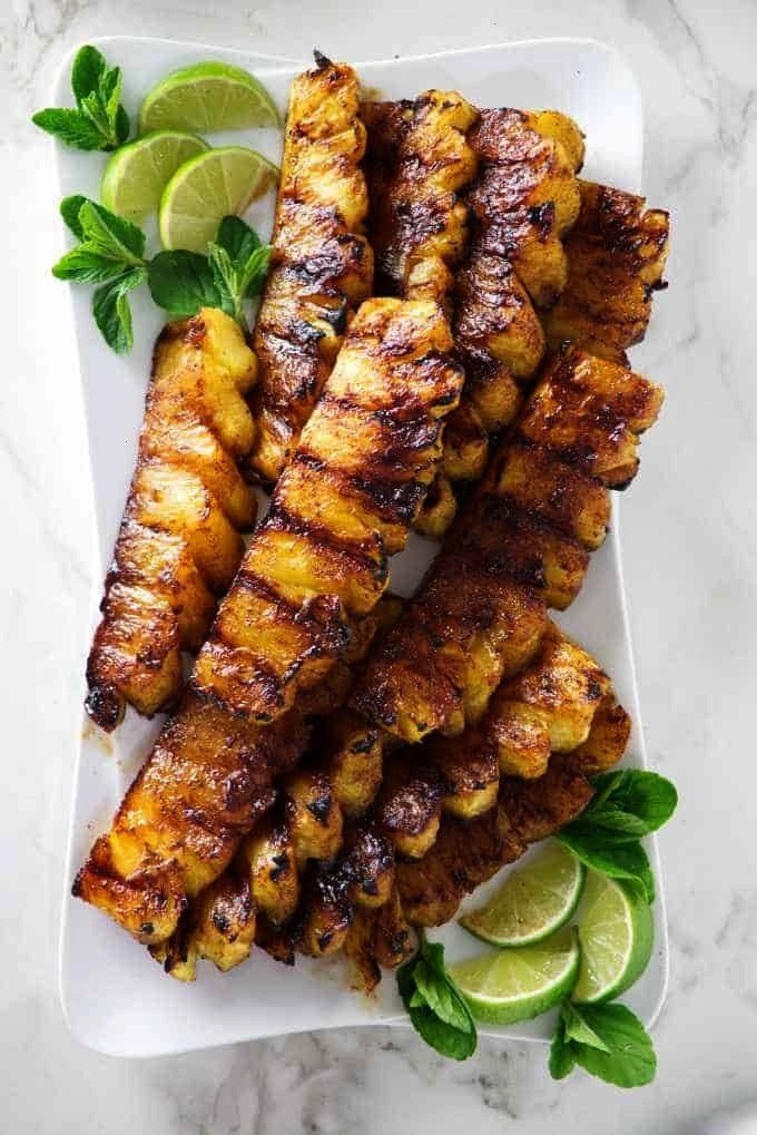 Pineapple with Cinnamon Sugar -  Cinnamon sugar gives this grilled pineapple a delicious caramelize