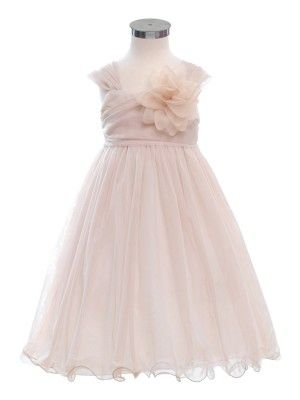 f5db9498b9c Champagne Double Layered and Toned Mesh Flower Girl Dress - Flower Girl  Dresses - GIRLS