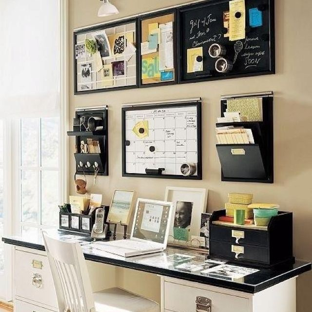 Organized desk Bulletin/chalk boards, hanging folders and wall