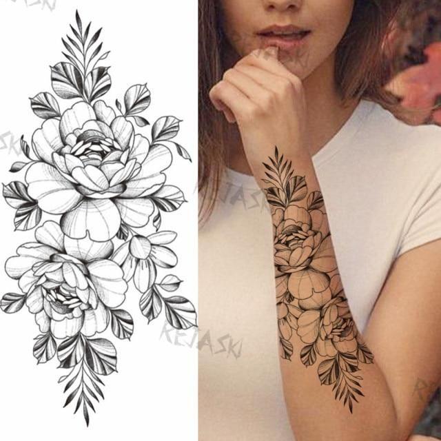 Photo of Purple Rose Jewelry Water Transfer Tattoo Stickers Women Body Chest Art Temporary Tattoo Girl Waist Bracelet Flash Tatoos Flower – PFF070