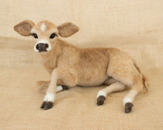 MaryBeth the Jersey Cow Calf: Needle felted animal sculpture
