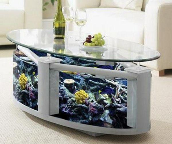 Ovale Couchtische holz glas schick wohnzimmer aquarium Dining - couchtisch weiss design ideen