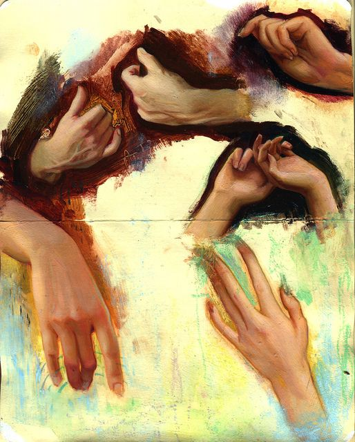 Every sketchbook should have pages and pages of this....    hands in oil/pastel by rodrigoluff, via Flickr