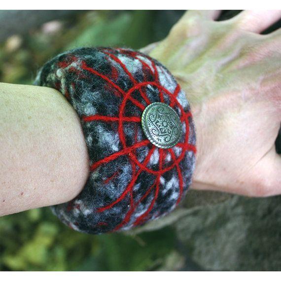 Felted Cuff Bracelet Shield Maiden Viking by HuzzahHandmade #hvnyteam, #hudsonvalley