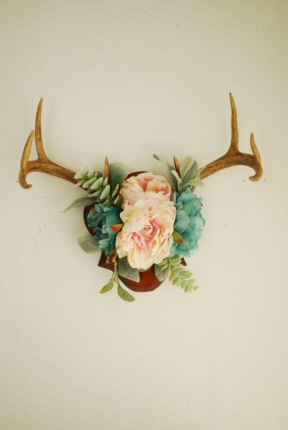 Real Vintage Floral Deer Antler Mount Taxidermy by hunterdear