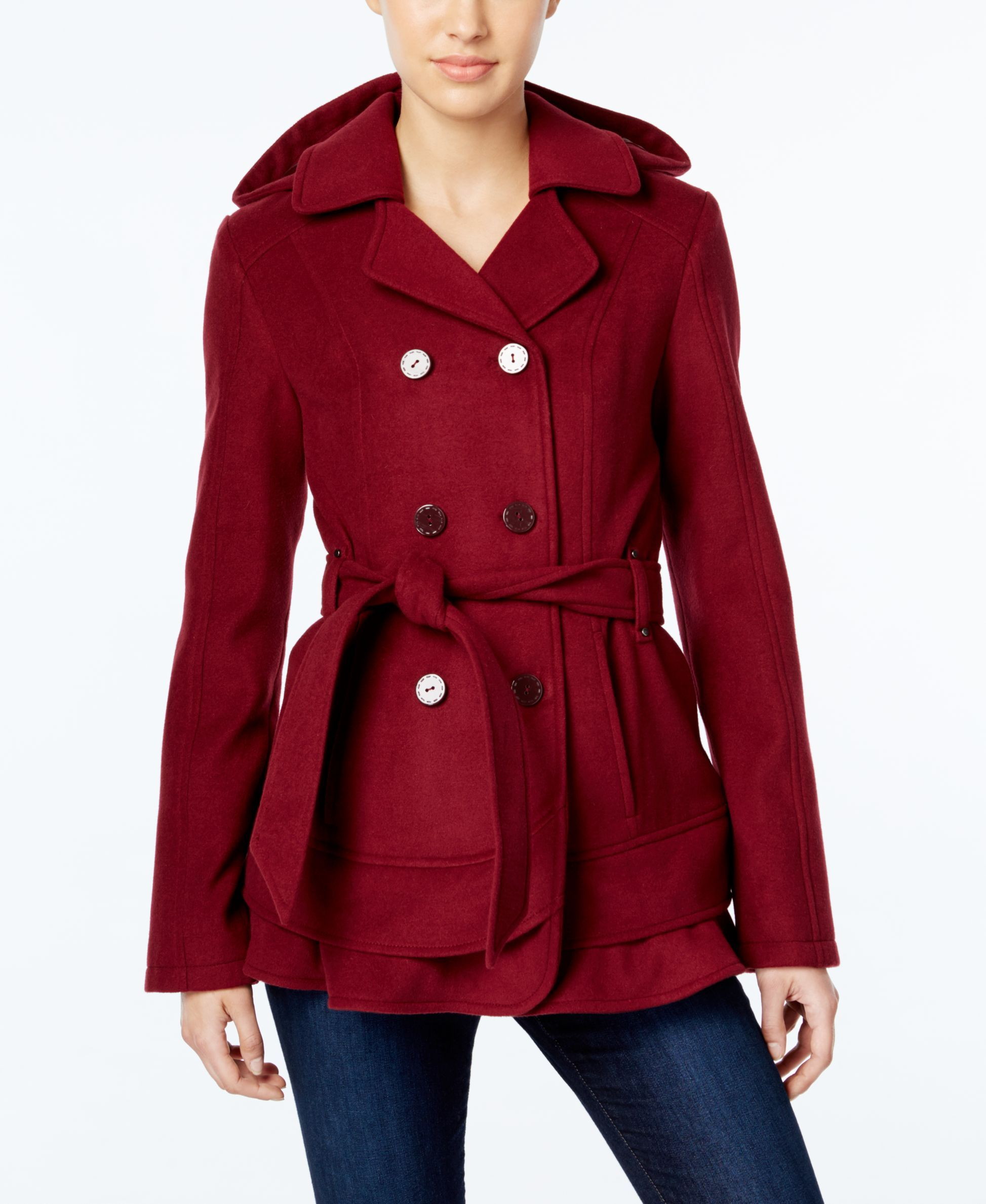 Celebrity Pink Hooded Double Breasted Tiered Hem Peacoat Coats Women Macy S Celebrity Pink Peacoat Clothes [ 2378 x 1947 Pixel ]