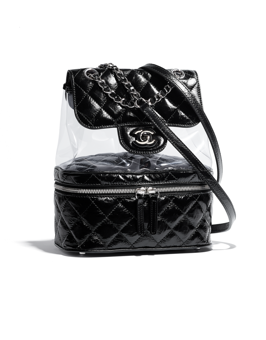 651bc754320c Backpack, crumpled calfskin, pvc, resin & silver-tone metal-black - CHANEL