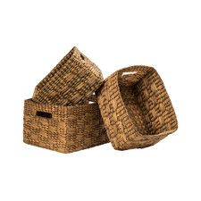 3 Piece Water Hyacinth Storage Basket Set