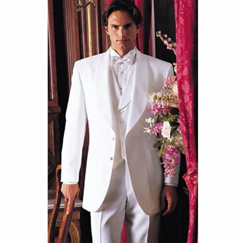 Fashion Style Two Button White Groom Tuxedos Groomsmen Custom Made ...