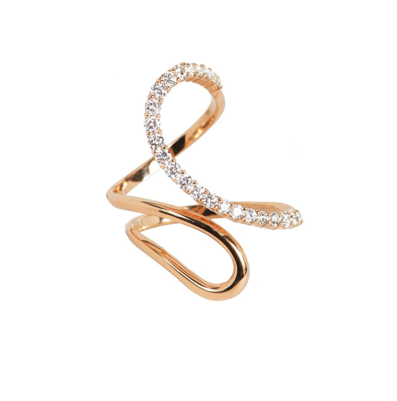 Rose gold high polish modern open swirl ring with diamonds diamond