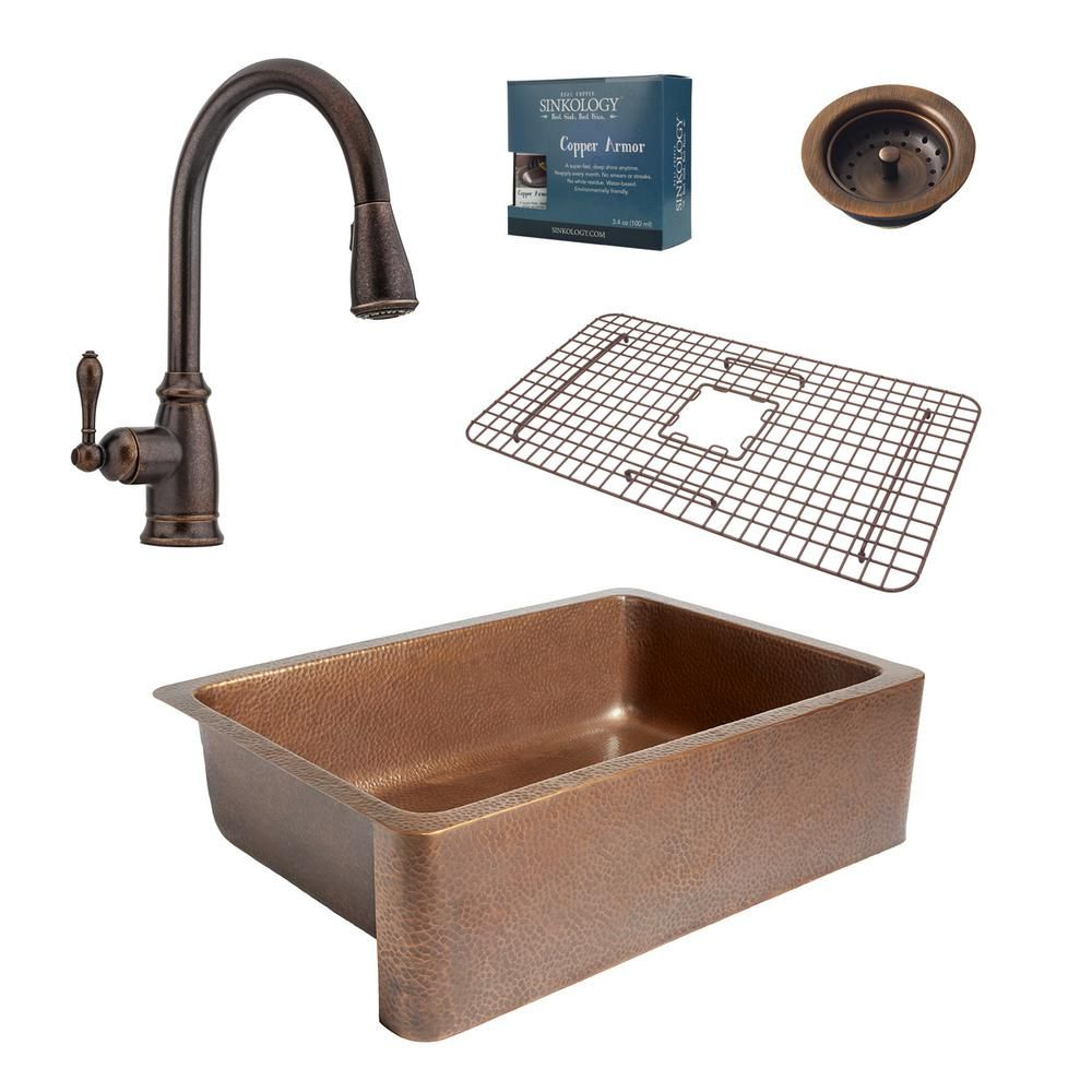 Sinkology Adams All In One Farmhouse Copper 33 In Single Bowl Kitchen Sink With Pfister Bronze Pull Down Faucet And Drain K1a 1004 F529 B Copper Kitchen Single Bowl Kitchen Sink Copper Farmhouse Sinks