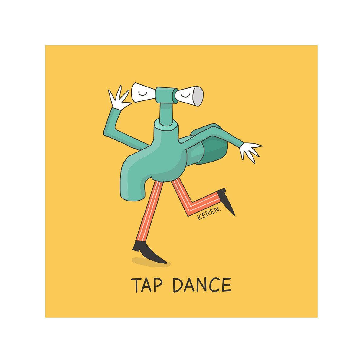 Tap dance Print, Yellow Poster, Digital Print  | Puns | Tap