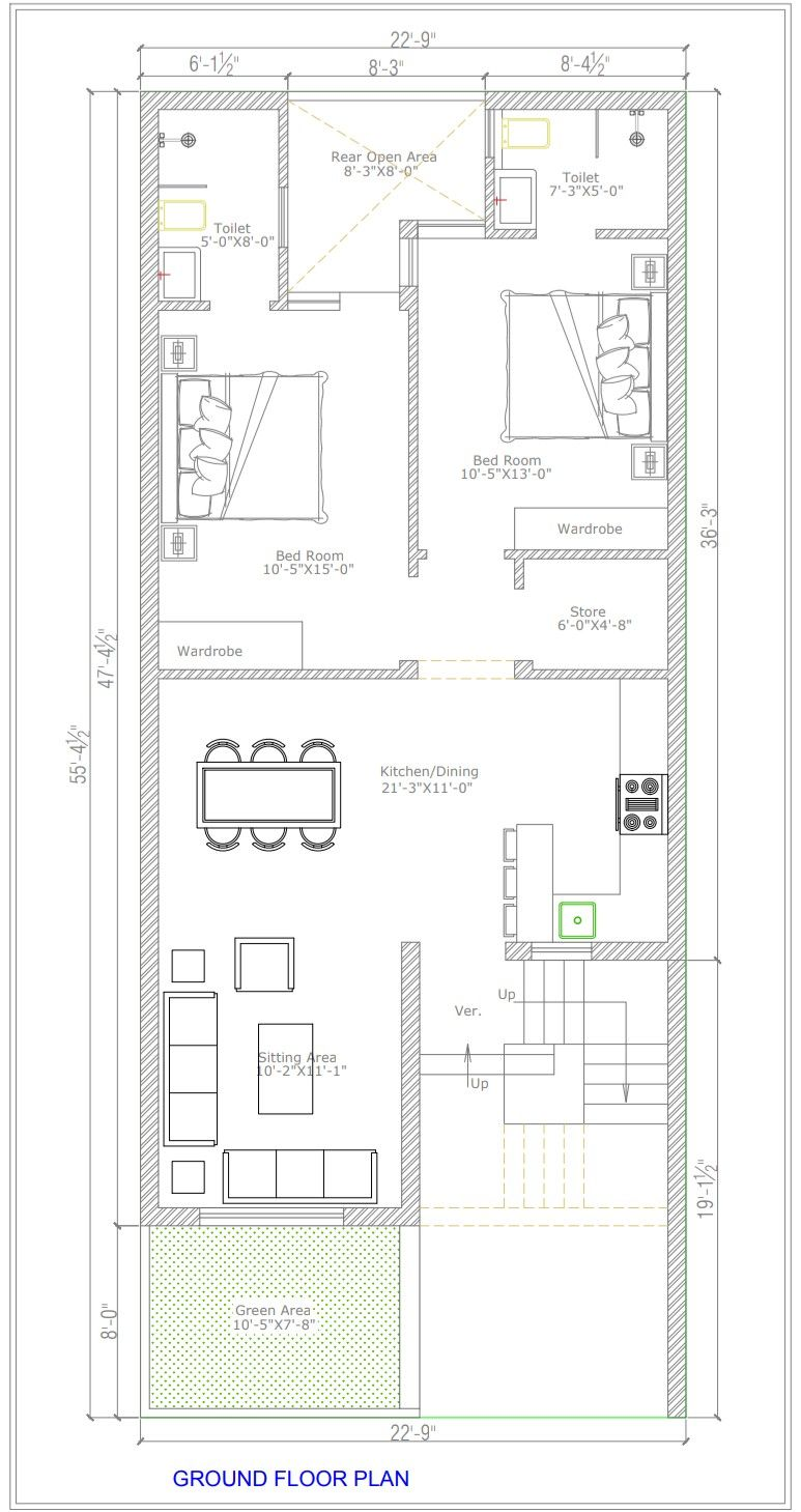 22x55 2bhk Home Plan Large Sitting Dining With Open Kitchen 2bhk House Plan Open House Plans My House Plans