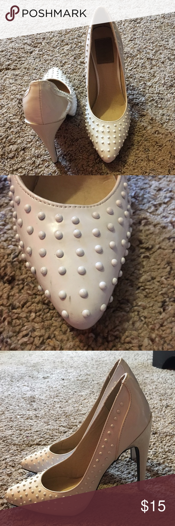 White studded stilettos White studded stilettos for a perfect spring night out! They are in almost perfect condition besides what is pictured. I have not tried to clean them. Shoes Heels