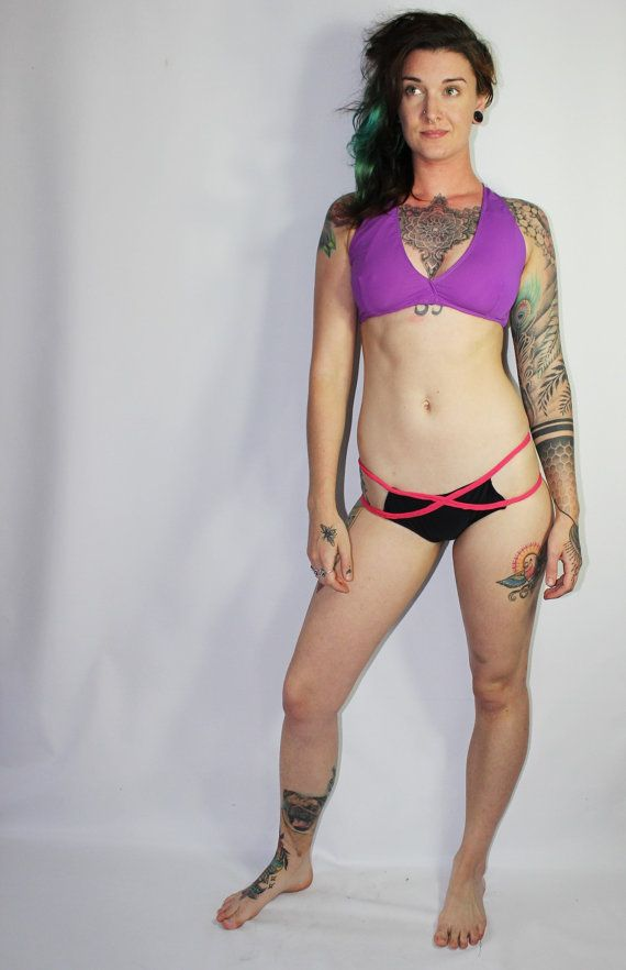 9eeeed244333b Custom X-Font Strappy Hipster Bikini Swimsuit Bottoms /Any Size /27 Colors  and Prints /Made to Measure