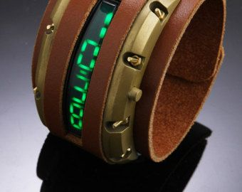 Fully Functioning Sci-fi Steampunk Watch - Tan and Brass with linear green LED watch.