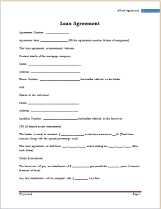 Loan Agreement Template At WorddoxOrg  Microsoft Templates