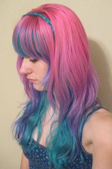 pink purple and blue hair. loose