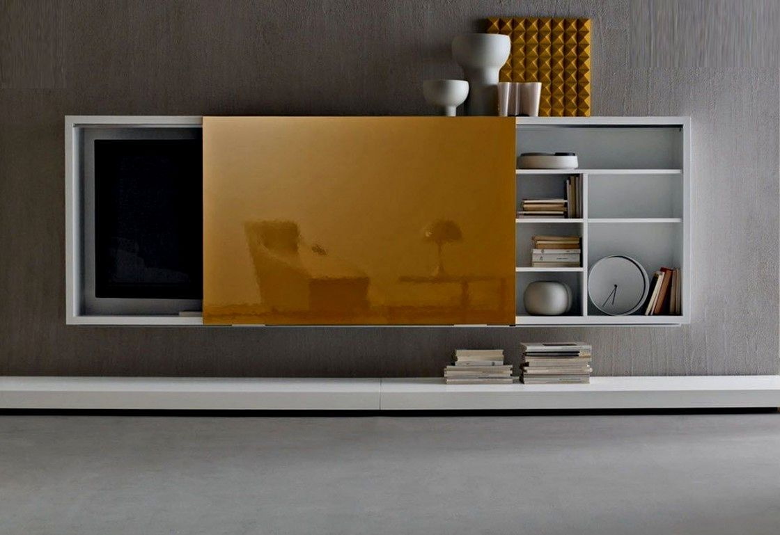 Wall mounted tv cabinet with sliding doors living room pinterest