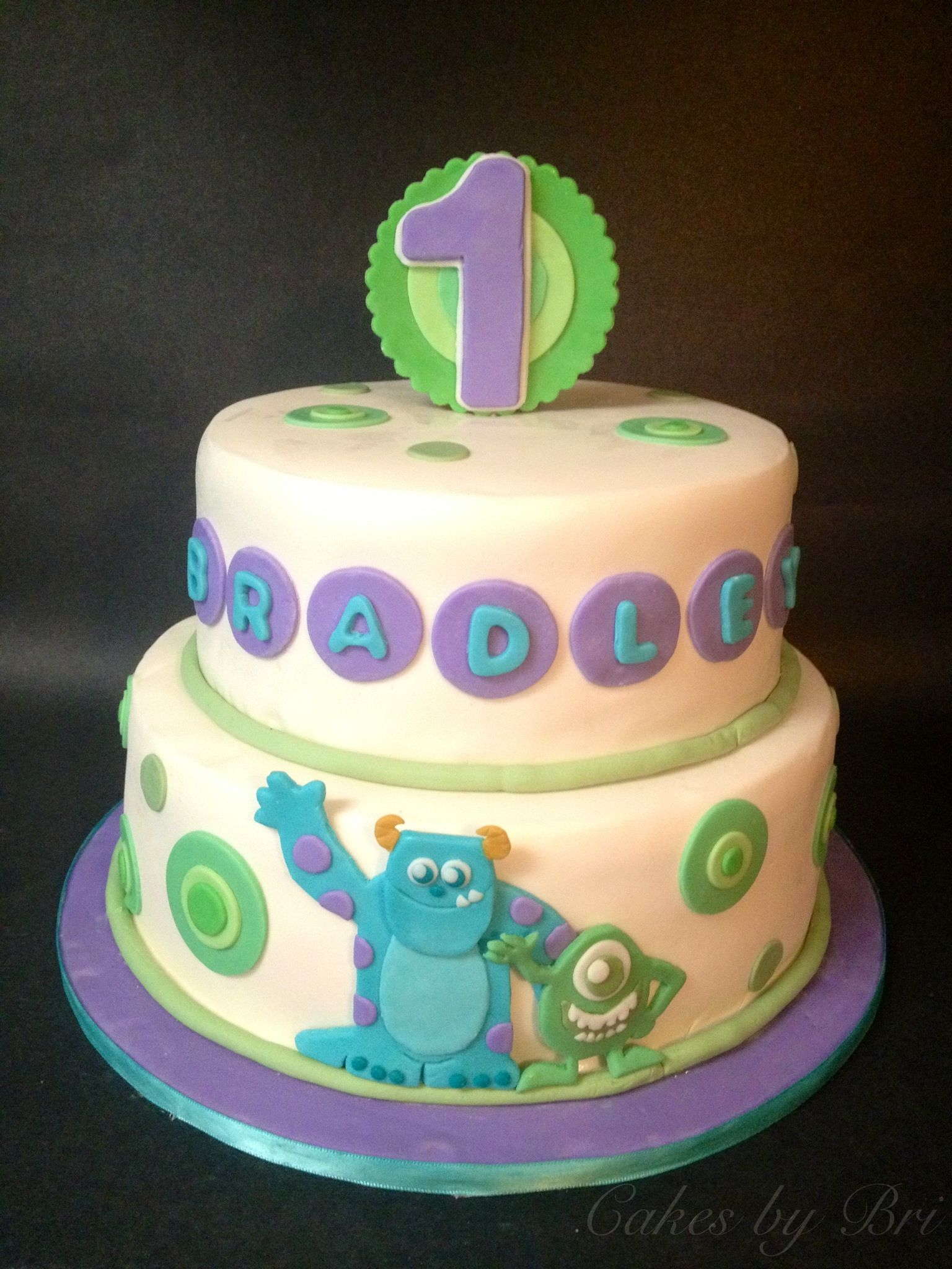 Monsters inc themed birthday cake Monsters Inc birthday party