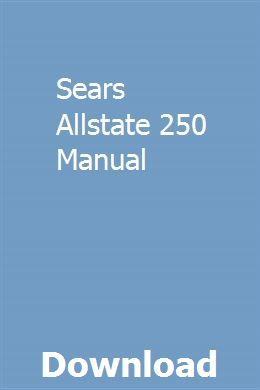Sears Allstate 250 Manual Manual, Mercedes 300e, Repair