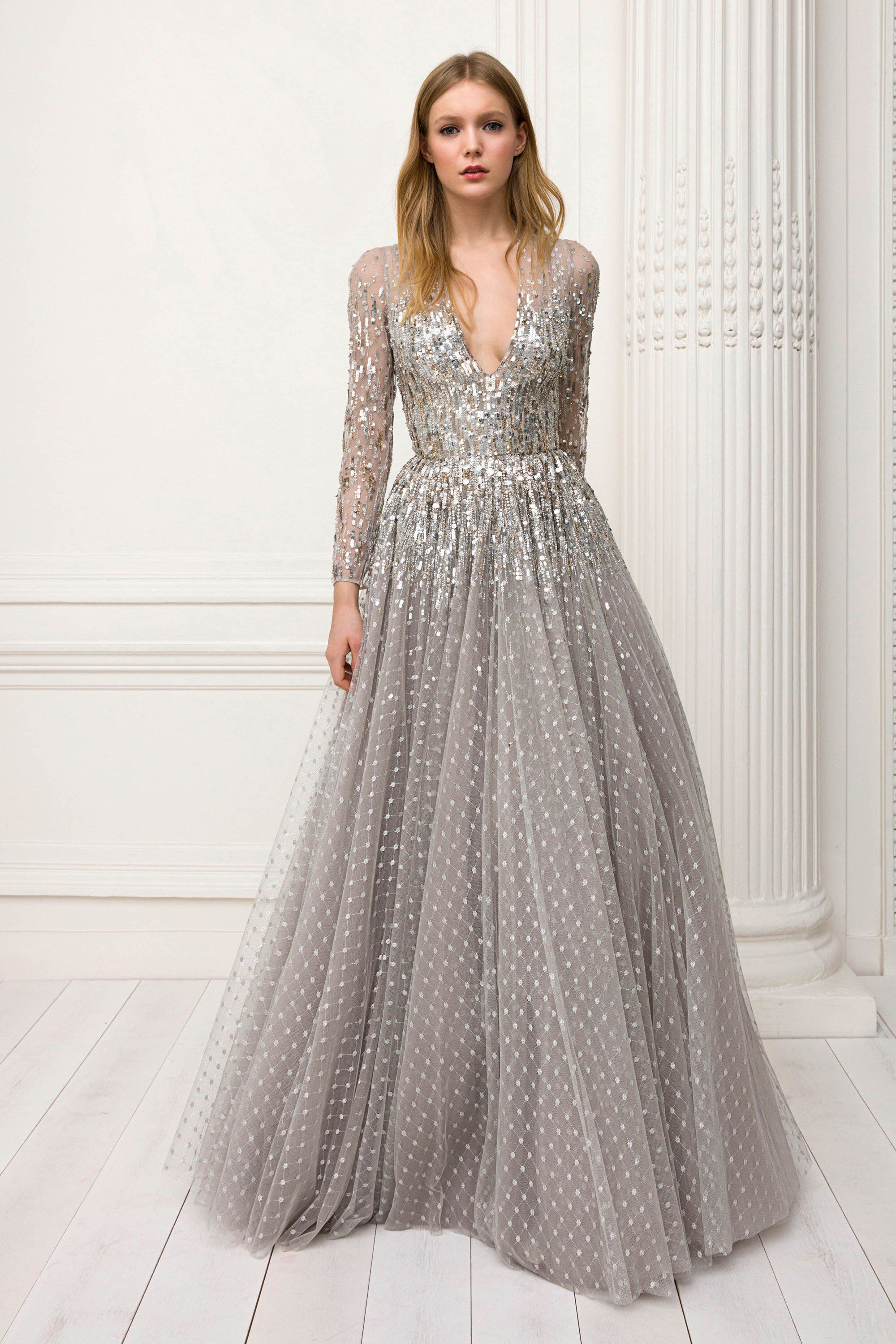 Jenny Packham Pre-Fall 2018  I m obsessed with the grey gown with a mix of  sequins and embellishments! I like how the gown has long sleeves! 0699d6826c9a