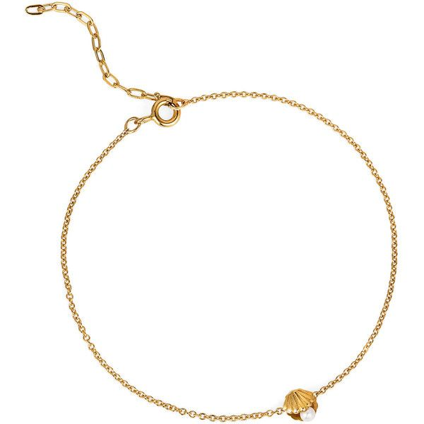 Lee Renee Gold Vermeil Mini Shell & Pearl Bracelet (€94) ❤ liked on Polyvore featuring jewelry, bracelets, pearl jewellery, pearl jewelry, shell bracelet, pearl bangle y seashell jewelry