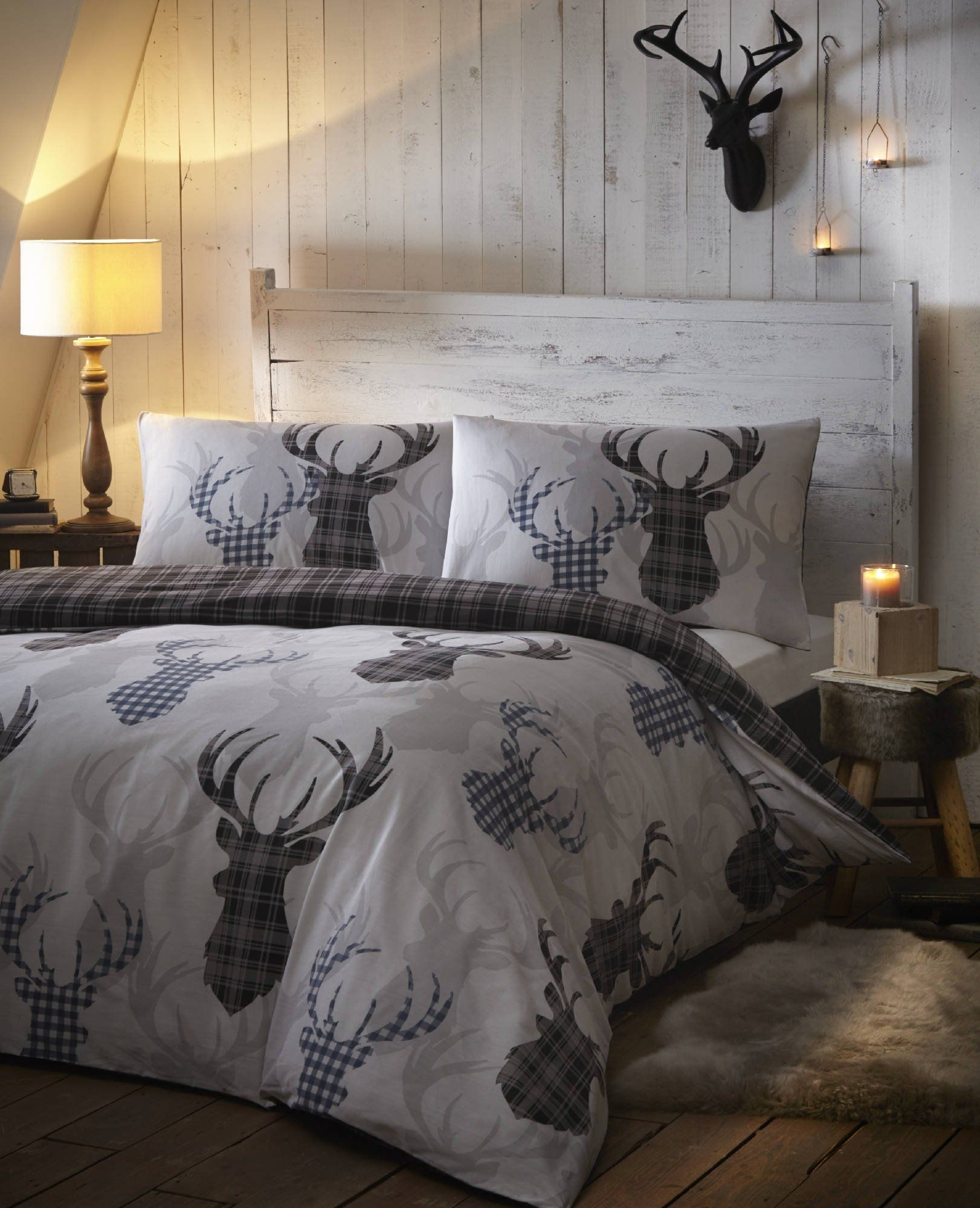 Tartan Check Stag Rein Deer Duvet Quilt Cover Double Bedding Bed Set