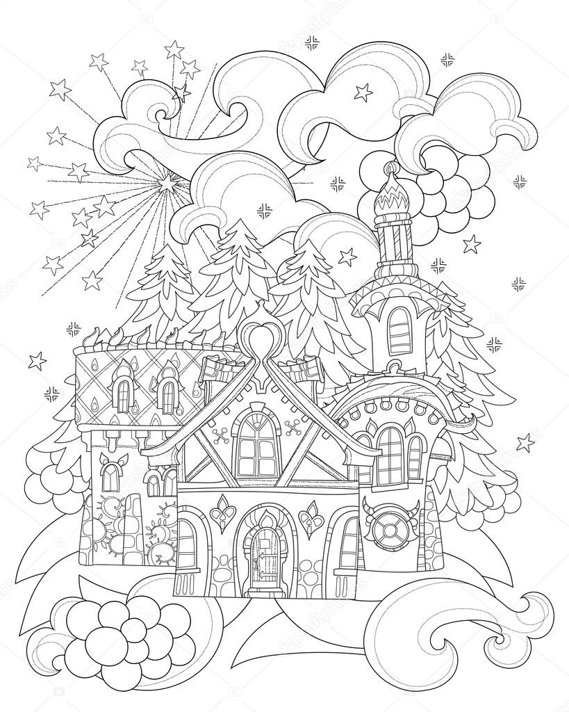 Vector Cute Christmas Fairy Tale Town Doodle Stock Illustration In 2020 Coloring Books Cute Coloring Pages Free Coloring Pages